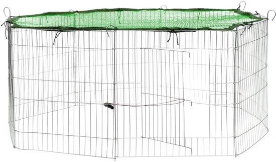 TecTake - Konijnenkooi met veiligheidsnet Ø 145cm groen- 402394