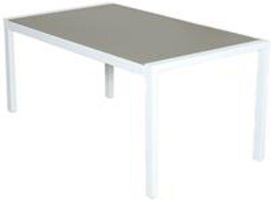 Aluminium Tuintafel Met Glazen Blad.Bol Com Tafel 160x90cm Met Glazen Blad Wit Taupe Mat Geprint