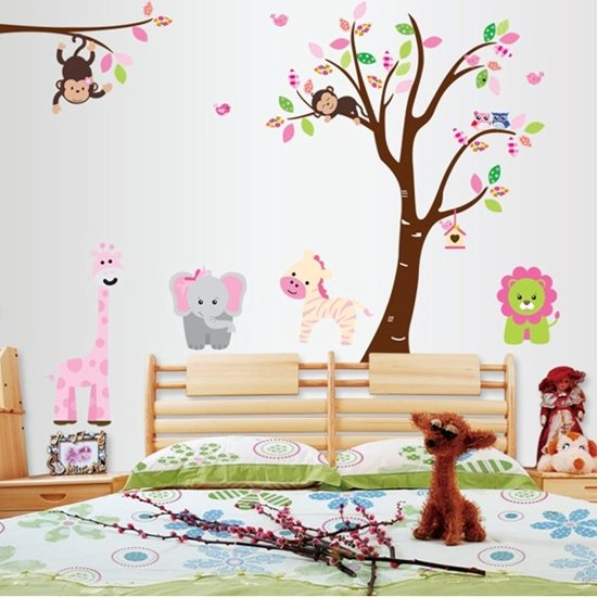 Sticker Boom Kinderkamer.Bol Com Muursticker Boom Met Dieren In Roze Thema Wanddecoratie