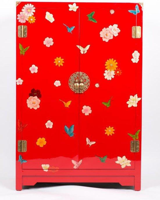 Chinese Meubelen Chinese Kast Nachtkastje Rood met Vlinders Yangzhou Lacquer Lakkastje - Orientique