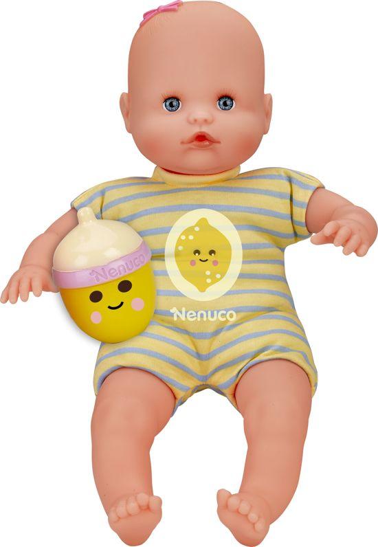 Nenuco pop met fles-rammelaar - geel - citroen