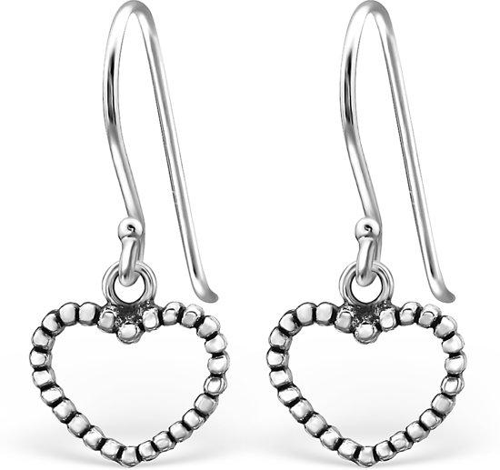 Montebello, zilveren hartjes oorhangers, Addeline