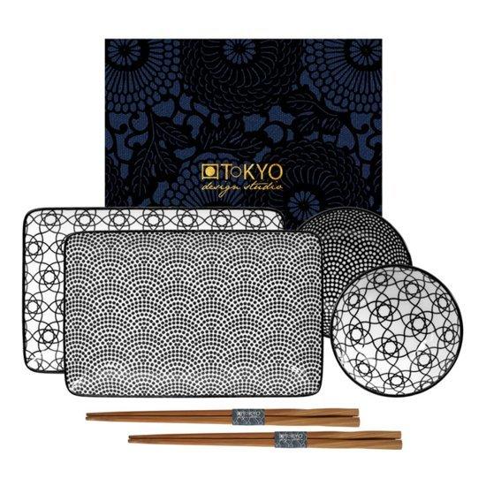 Tokyo Design Studio Nippon Black Sushi Servies - hoogwaardig porselein - 6-delig - 2-persoons
