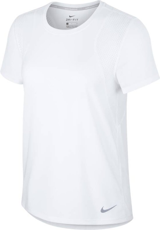 Nike Run Top SS Sportshirt Dames - White/White/(Reflective Silv)