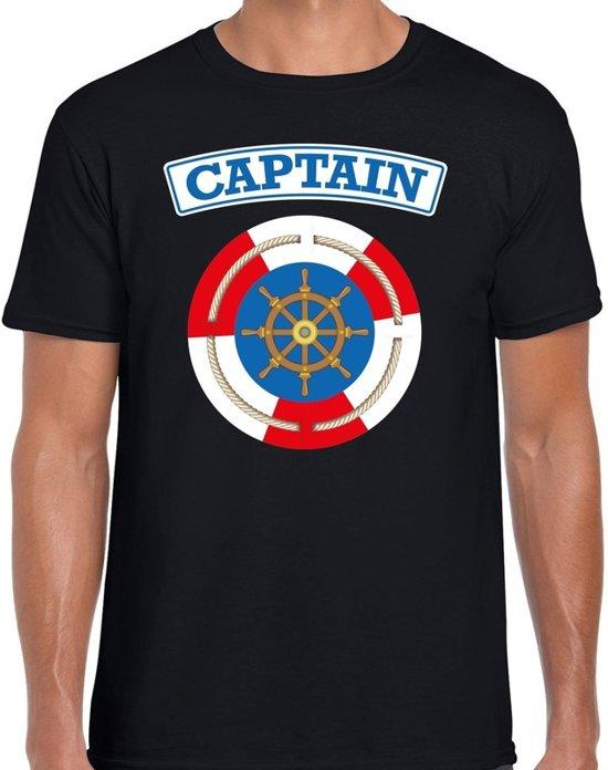 Kapitein/captain verkleed t-shirt zwart voor heren - maritiem carnaval / feest shirt kleding / kostuum XL