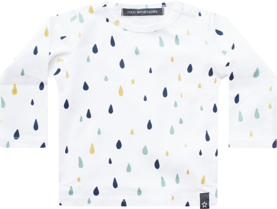 Your Wishes Unisex T-shirt Raindrops - wit - Maat 86/92