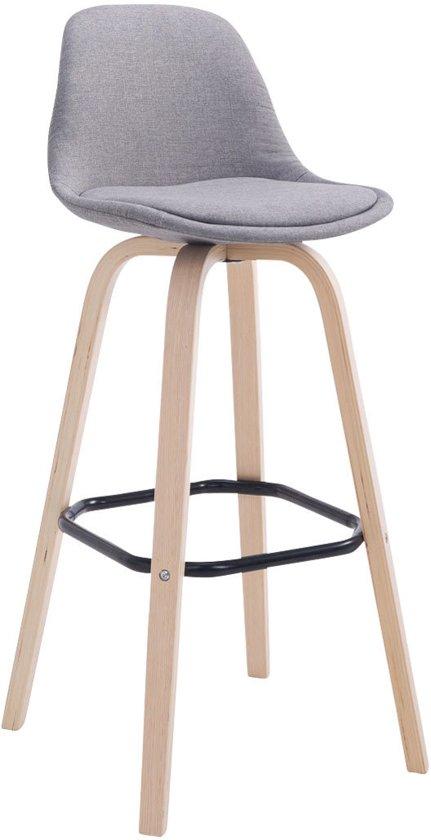 Clp Design retro barkruk AVIKA - barstoel met kuipzitje, leuning en voetsteun, stof - grijs, houten onderstel, kleur natura