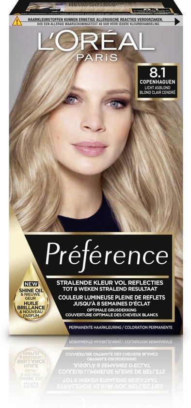 L'Oréal Paris Préférence Haarverf - 8.1 Licht asblond - Color extender