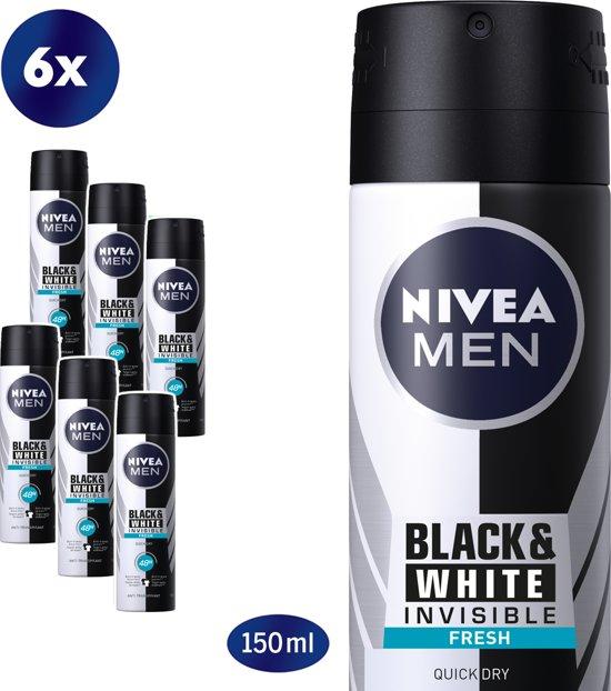 NIVEA MEN Invisible for Black & White Fresh Deodorant Spray - 6 x 150 ml - Voordeelverpakking