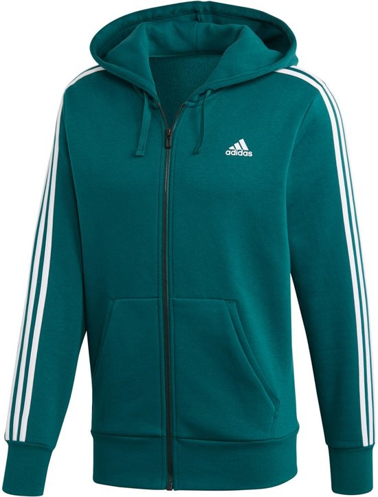 adidas Essentials 3S Fullzip Hoody Sportvest Heren Noble GreenWhite