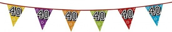 vlaggetjes 40 jaar bol.| 3x 40 jaar vlaggenlijn glitters   verjaardag slingers  vlaggetjes 40 jaar