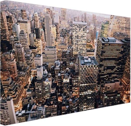 verlicht manhattan vanaf boven canvas 180x120 cm foto print op canvas schilderij wanddecoratie
