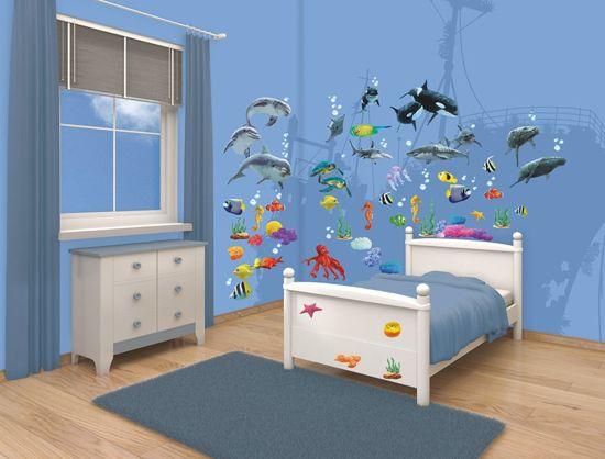 Behang Kinderkamer Vissen : Bol.com walltastic muursticker box onderwater 69 stickers