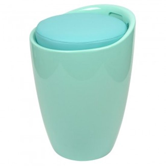 bol.com | Wasmand / badkamer zitje / poef aqua blauw