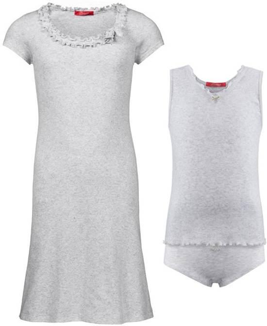 Exclusief Luxueus Kinder nachtkleding ; een Luxe mooi zacht grijs Girly Nachthemd met een verfijnde hals verwerking én een bijpassend zacht grijs, perfect zittend ondergoed setje, maat 140