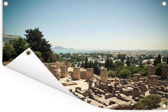 Uitzicht op de Tunesische ruïnes van Carthago in Afrika Tuinposter 60x40 cm - klein - Tuindoek / Buitencanvas / Schilderijen voor buiten (tuin decoratie)