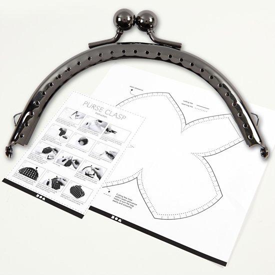 Portemonnee gesp kit, afm 10 cm, 1 stuk, antiek zilver