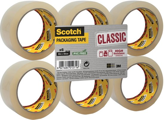 Scotch Verpakkingstape, Klassiek -Flatpack/6 rollen, Transparant, 50 mm x 66 m