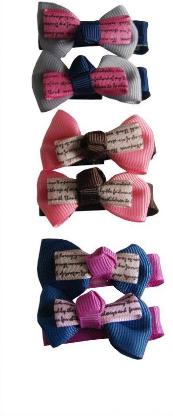 Jessidress Haarclip met kleine Haarstrikje Meisjes Baretten - Grijs/Roze/Blauw