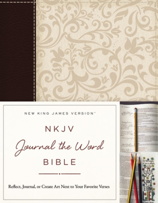 NKJV, Journal the Word Bible, Leathersoft, Brown/Cream, Red Letter Edition