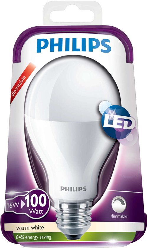 philips e27 led gloeilamp 16w 100w warmwit 2700k. Black Bedroom Furniture Sets. Home Design Ideas