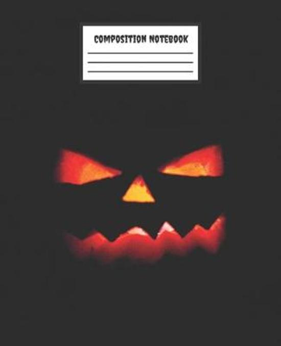 Composition Notebook: Orange Pumpkin Black - College Ruled Blank Lined Journal, subject for adults, teens, students, kids, teachers, school,