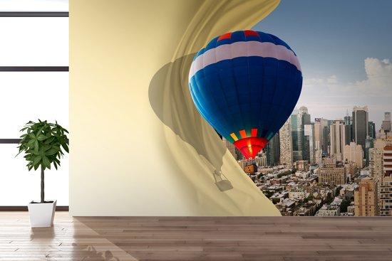 Fotobehang Papier Luchtballon, Abstract | Blauw | 368x254cm