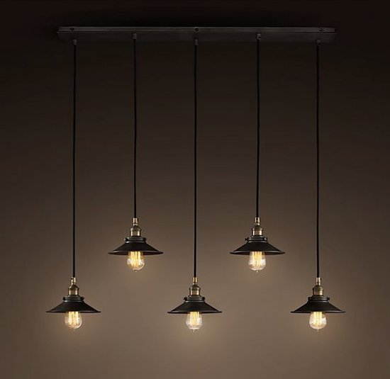 bol industrieel design hanglamp 5 kappen zwart