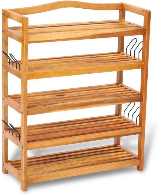 Schoenenrek hout met 5 planken