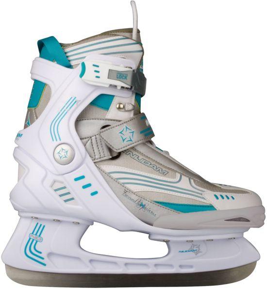 Nijdam 3353 Ijshockeyschaats - Semi-Softboot - Wit/Turquoise - Maat 41
