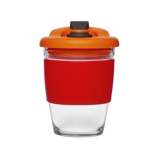 Herbuikbare Koffiebeker - 340ml - Vulcano Red - Glas - Pioneer