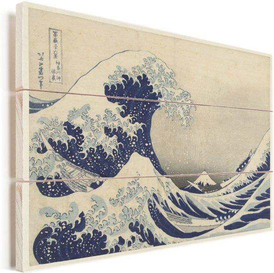De grote golf bij Kanagawa - Schilderij van Katsushika Hokusai Vurenhout met planken 30x20 cm - klein - Foto print op Hout (Wanddecoratie)