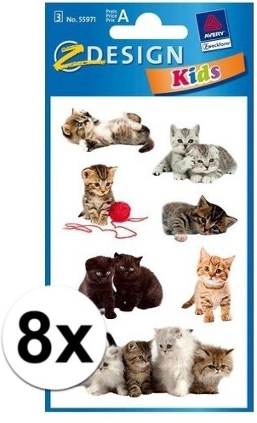 8x Kitten stickers 3 vellen - dieren stickers