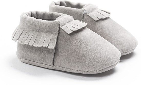 Baby Moccasin - Grijs - Maat S - Moccasins - Suede - Unisex - Baby Slofjes - Baby schoenen - Babyschoenen - Babyslofjes - Mockies