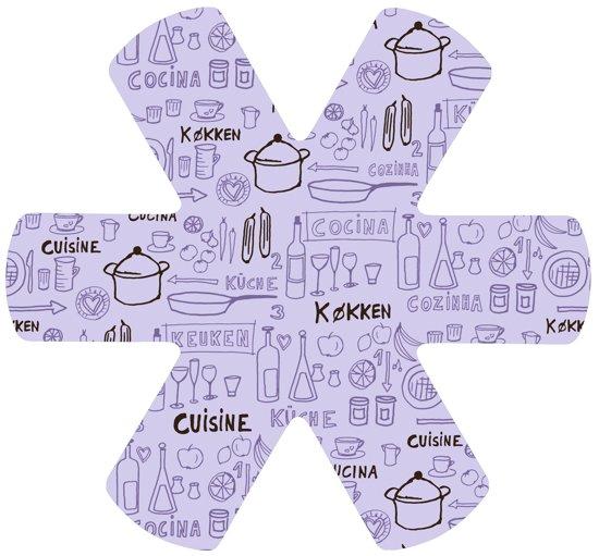 Papillon panbeschermer dessin internationaal keuken Paars-Set 3 stuks-polyester