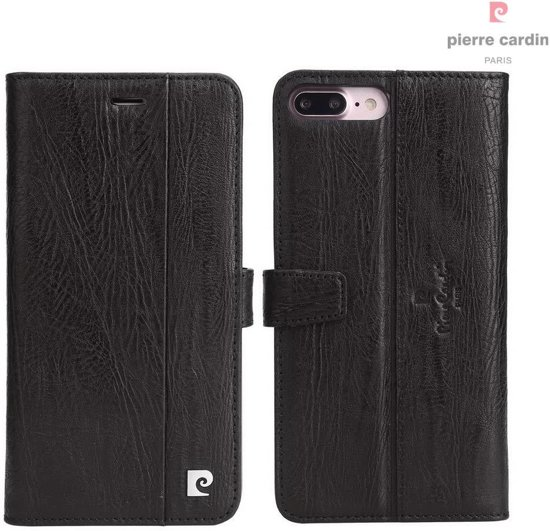 iPhone 8 Plus/7 Plus hoesje - Pierre Cardin - Zwart - Leer