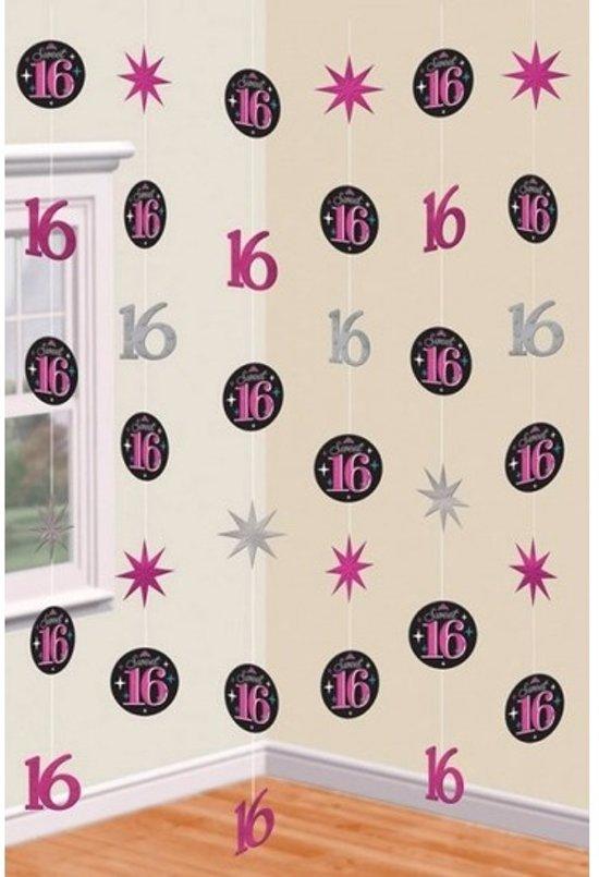 Hangdecoratie slingers roze 16 jaar merkloos for Hangdecoratie raam
