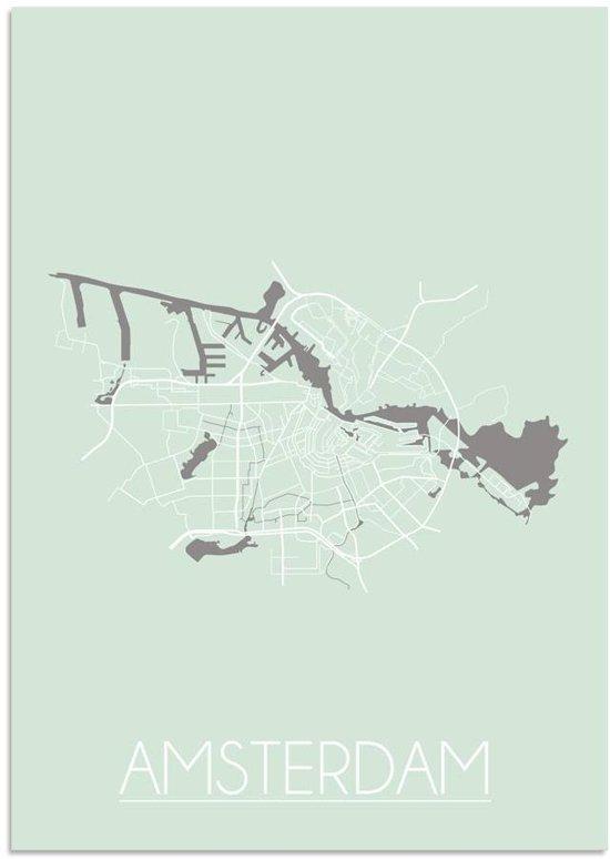 Plattegrond Amsterdam Stadskaart poster DesignClaud - Pastel groen - A4 poster