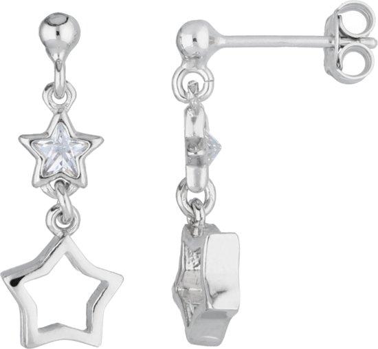 Lilly oorhangers opengewerkte ster en ster met zirkonia - zilver - gerodineerd - 21mm