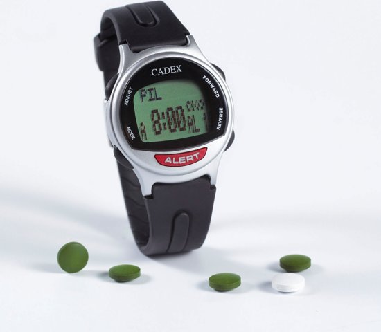 Medicijn Alarm Kind.Cadex Medicijn Horloge Kunststof Zwart
