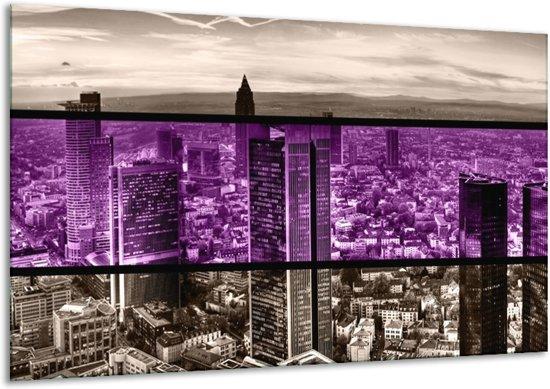 Glasschilderij Modern | Paars, Grijs, Zwart | 120x70cm 1Luik | Foto print op Glas |  F004444