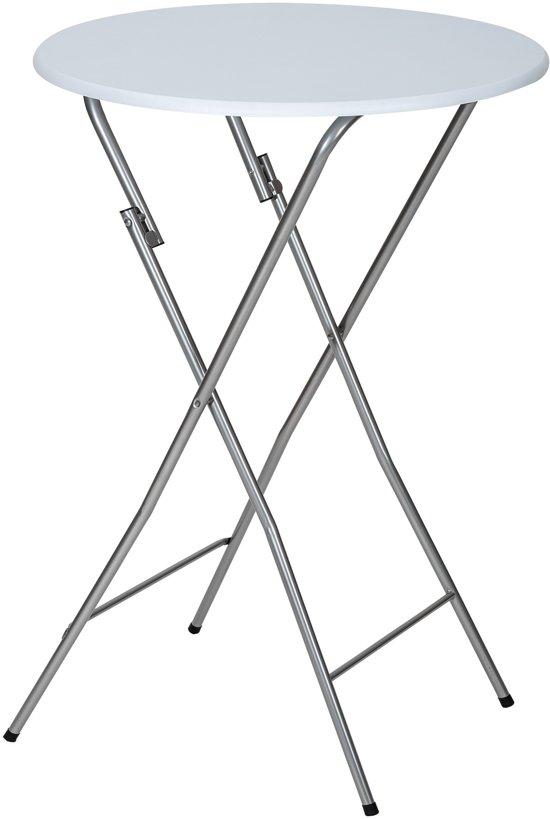 Tectake Opklapbaar - Bartafel - wit - Ø60 cm