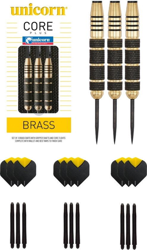 Unicorn Core Plus Brass - Dartpijl - 23 gram met 3 sets - dartshafts - en 3 sets - dartflights