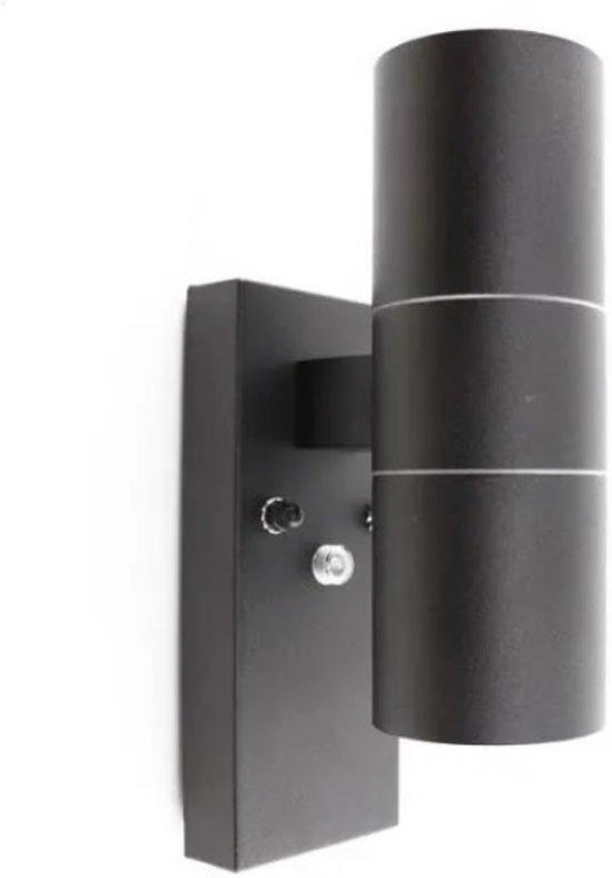 Buitenlamp Met Sensor Zwart.Zwarte Buitenlamp Schemersensor Pedro Roestvrij Staal Rvs