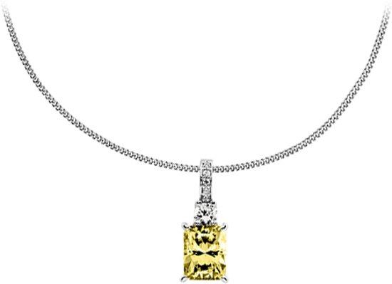 Diamonfire - Zilveren collier met hanger 45 cm - Iconic Yellow - Rechthoekige Gele steen