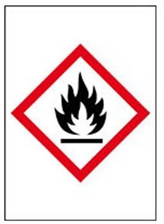 Sticker 'Ontvlambare stoffen' GHS02, 10 op vel, gevarensymbool, 26 x 37 mm