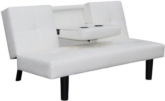 Slaapbank Voor 2.Bol Com Slaapbank Bankstel 2 Zits Kunstleer Wit Met Armleuning
