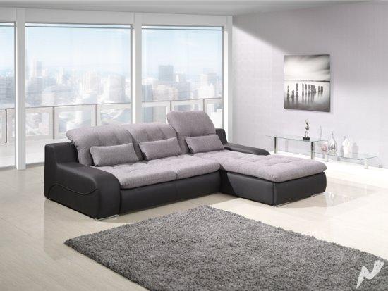 Bol.com slaapbank camelia lounge rechts grijs zwart
