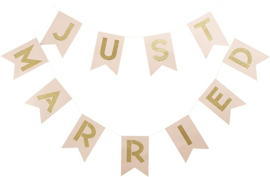 Ginger Ray Pastel Perfection - 'Just Married' huwelijk slinger - Pastel roze - 3,50 meter Valentinaa