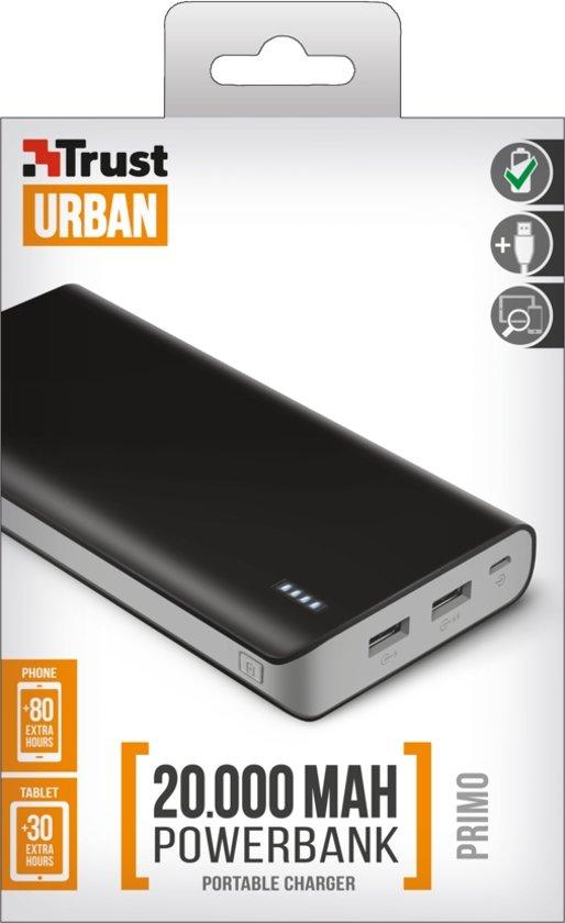 Trust Mobile - Primo Powerbank, 20.000 mAh, 2x USB  - Zwart